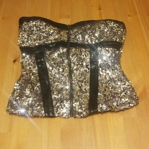 NWT Bebe zip up silver sequin and black corset
